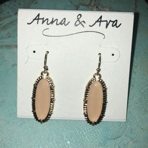 Pale Pink & Gold Statement Earrings